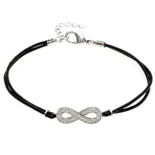Sterling Essentials Silver and Leather Cord CZ Infinity Bracelet