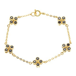 Sterling Essentials 14k Gold over Silver Black CZ Clover Bracelet