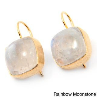 Handcrafted 14k Gold Plated Sterling Silver Gemstone Earrings (India)