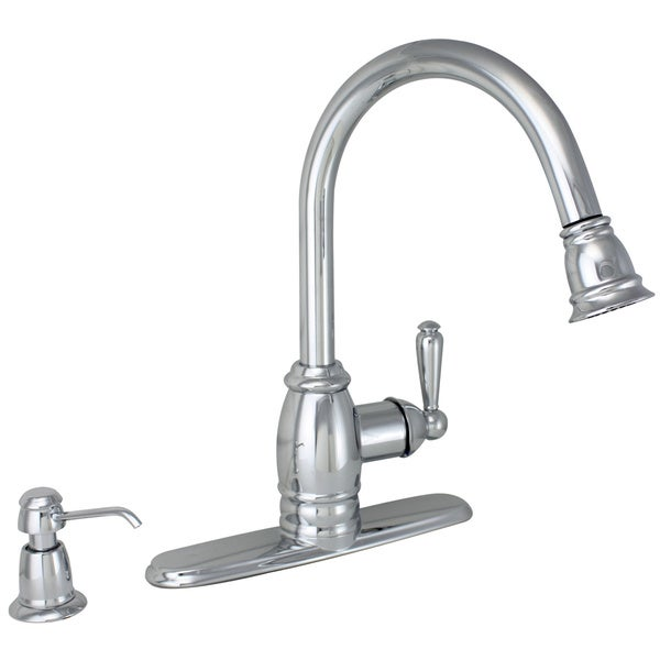 Premier Sonoma Single Handle Chrome Pull Down Kitchen Faucet with Soap in Deck