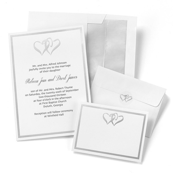 Silver Double Heart Invitation Kit