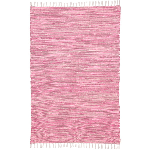 Pink Reversible Chenille Flat Weave Area Rug 4 X 6