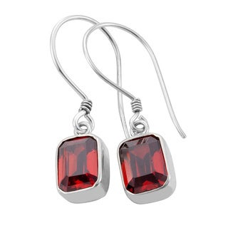 Sterling Silver Emerald-cut Garnet Earrings (Indonesia)