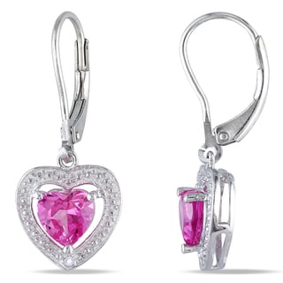 M by Miadora Sterling Silver Created Pink Sapphire and Diamond Heart Earrings