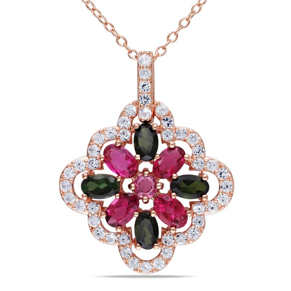 Miadora Rose Goldplated Silver Multi-color gemstone Necklace