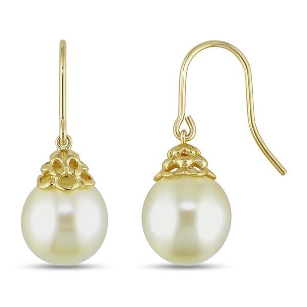 Miadora 14k Yellow Gold South Sea Pearl Drop Earrings (10-11 mm)