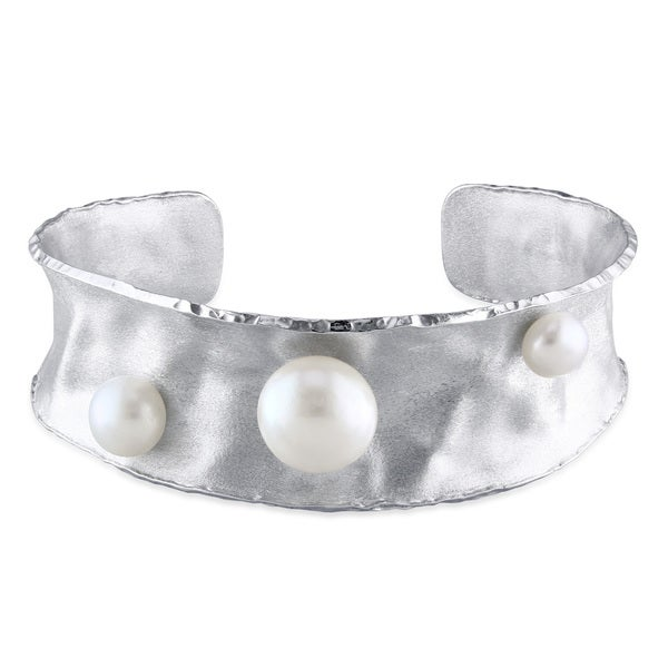 Miadora Sterling Silver Freshwater Pearl Bangle