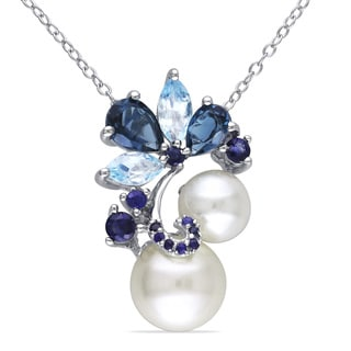 Miadora Silver Cultured Freshwater Pearl, Marquise, Pear and Round-cut Blue Topaz and Sapphire Drop Cluster Necklace (7-9.5 mm)
