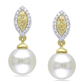 Miadora 10k Yellow Gold Pearl, 1/6ct TDW Diamond and Sapphire Earrings