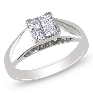 Miadora 14k White Gold 3/5ct TDW Diamond Engagement Ring (G-H, I1-I2)
