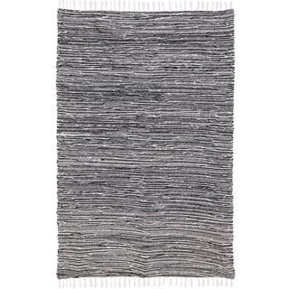 Black Reversible Chenille Flat Weave Area Rug (4' x 6')