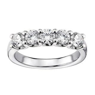 14k/ 18k Gold or Platinum 1ct TDW Diamond 5-stone Wedding Band (F-G, SI1-SI2)