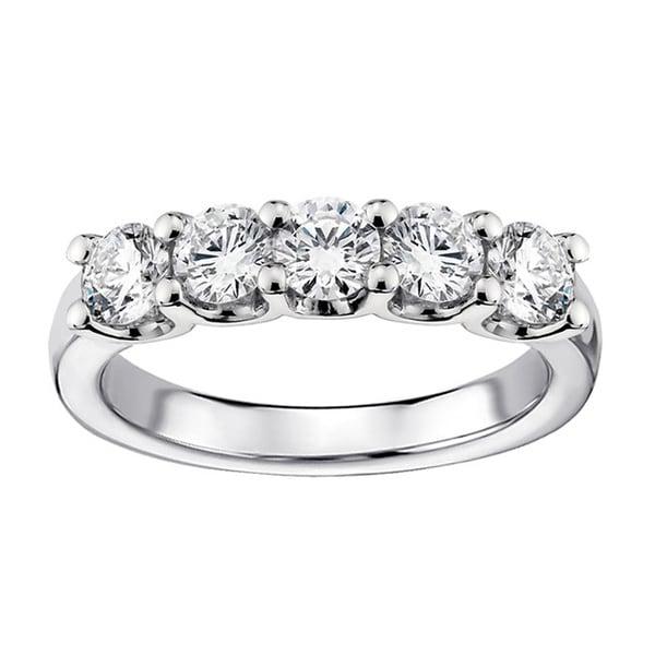 14k 18k white gold 1ct tdw diamond 5 stone wedding band g h si1 si2