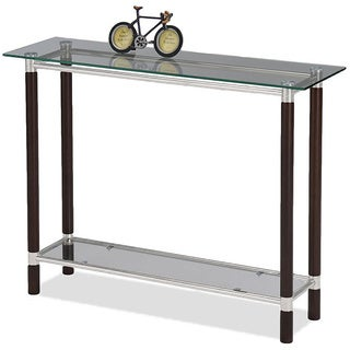 Coffee and Brushed Nickel Finish Glass Top Sofa Table