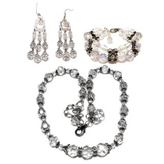 Silverplated Clear Faceted Crystal Wedding Jewelry Set