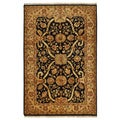 Hand-knotted Luxurious Agra Gold Wool Rug (6' x 9'1)