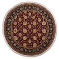 Hand-knotted Tabriz Red Wool Rug (5' Round)