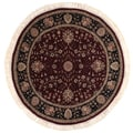 Hand-knotted Tabriz Red Wool Rug (4' Round)