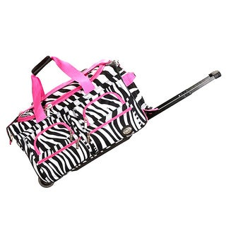Rockland Deluxe 22-inch Pink Zebra Carry-on Rolling Duffel Bag