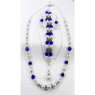 Silverplated White Glass Pearl and Blue Crystal Wedding Jewelry