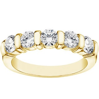 Yellow Gold 1.10ct TDW Bar Set 5-stone Diamond Wedding Band (F-G, SI1-SI2)