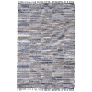 Blue Jeans Checkered Hand Woven Denim and Hemp Rug (9'x12')