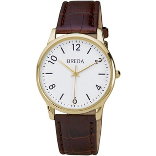 Breda Men's 'Andrew' Classic Leather Band Watch