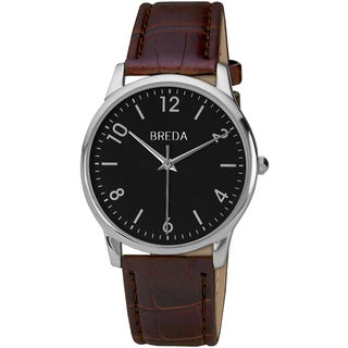 Breda Men's 'Andrew' Classic Black Dial Leather Band Watch