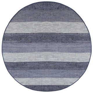 Hand Woven Matador Blue Stripe Leather Rug (6' Round)