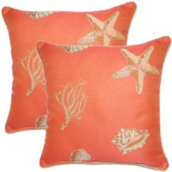Nassau Coral 17-inch Throw Pillows (Set of 2)
