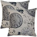 Tic Toc Sepia 17-inch Throw Pillows (Set of 2)