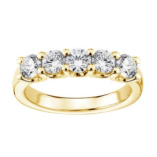 14k/ 18k Yellow Gold 1ct TDW Diamond 5-stone Wedding Band (F-G, SI1-SI2)