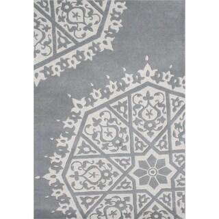 Grey Handmade New Zealand Blended Wool Rug (5' x 8')