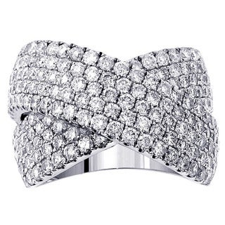 14k/ 18k Gold or Platinum 3ct TDW Pave Diamond Crossover Ring (F-G, SI1-SI2)