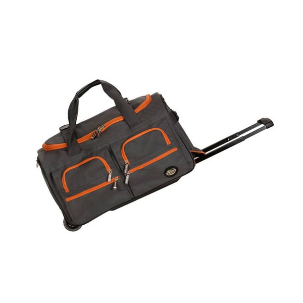 Rockland Deluxe Charcoal 22-inch Carry-on Rolling Duffel Bag