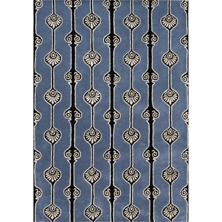 ZnZ Rugs Gallery Hand Made Aegan Blue New Zealand Blended Wool Rug (8' x 10')