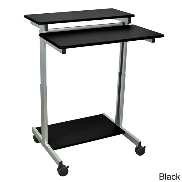 Luxor Mobile Stand-Up Computer Workstation With Silver Gray Frame