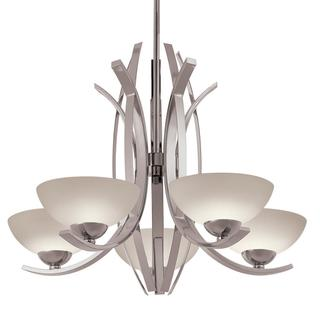 Transitional 5-light Chandelier in Polished Nickel