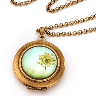 Antique Finished Vintage-styled Floral Photo Locket Necklace