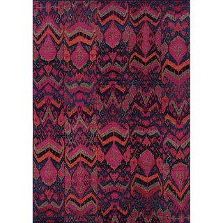 Vibrant Tribal Pink/ Orange Area Rug (4' x 5'9)