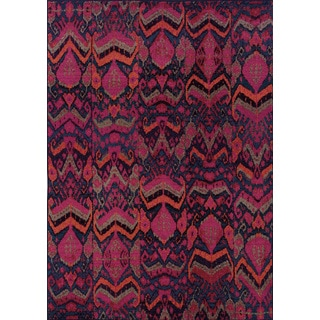 Vibrant Tribal Blue/ Pink Rug (6'7 x 9'1)