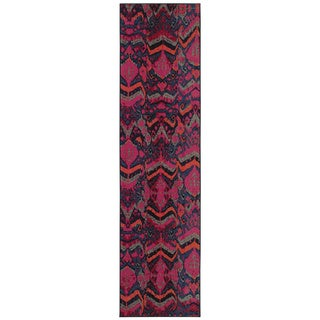 Kaleidoscope Blue and Pink Area Rug (2'7 x 10')