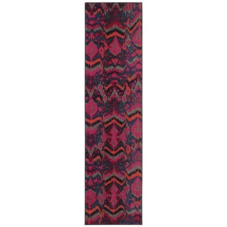 Vibrant Tribal Blue/ Pink Area Rug (2'7 x 10')