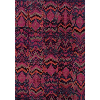 Vibrant Tribal Blue/ Pink Rug (5'3 x 7'6)