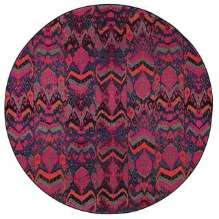 Vibrant Tribal Blue/ Pink Rug (7'8 Round)