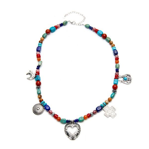 Southwest Moon Sterling Silver Multi-gemstone Necklace
