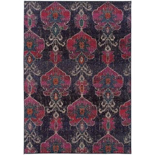Antiqued Modern Grey/ Pink Contemporary Area Rug (4' x 5'9)