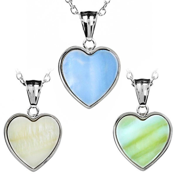 ELYA Stainless Steel Dyed Mother of Pearl Heart Pendant 11620097