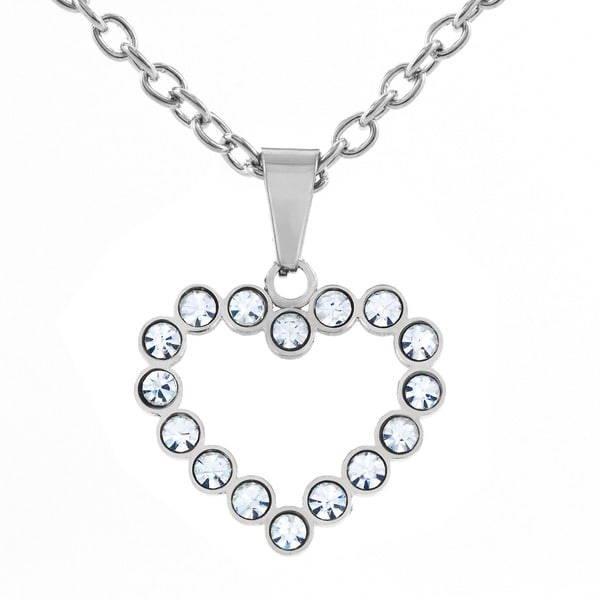 Stainless Steel Cubic Zirconia Open Heart Pendant Necklace