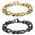 Stainless Steel High-polish Figaro Chain Bracelet